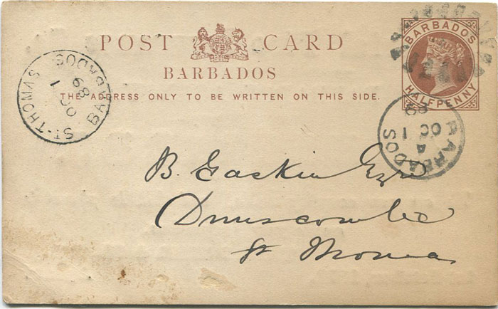 1889 Barbados postal stationery ½d card used with fine ST THOMAS BARBADOS Parish cds.
