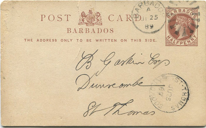 1889 Barbados postal stationery ½d card used with ST THOMAS BARBADOS Parish cds.
