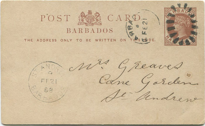 1888 Barbados postal stationery ½d card used with ST ANDREWS 9 BARBADOS Parish cds.