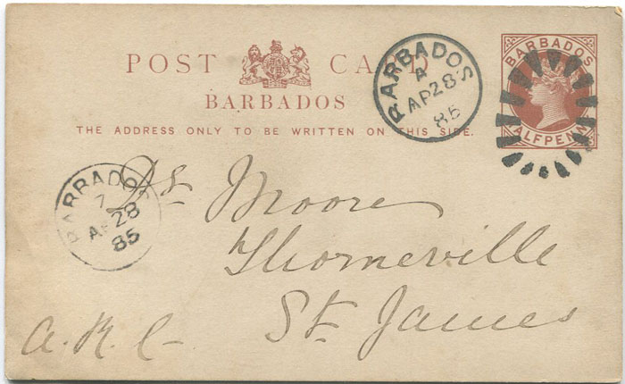 1885 Barbados postal stationery ½d card used with BARBADOS 7 Parish cds.
