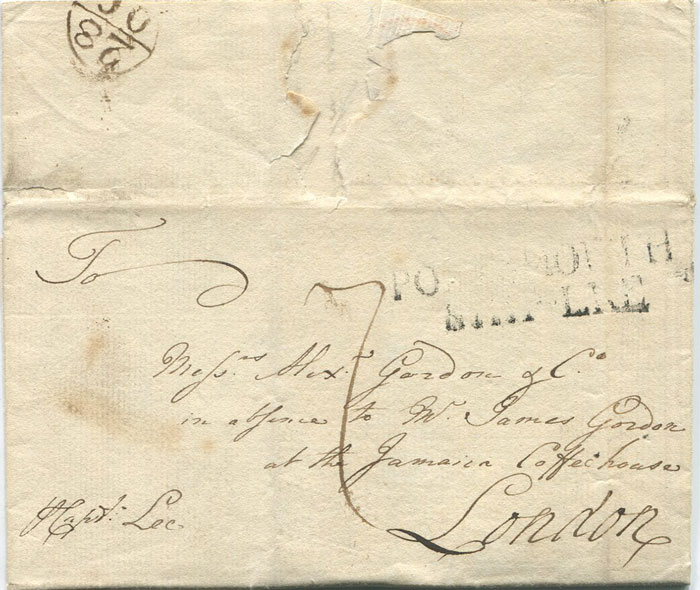 1774 (15 Aug) EL from Barbados addressed to Alexander Gordon & Co at the Jamaica Coffee House, London