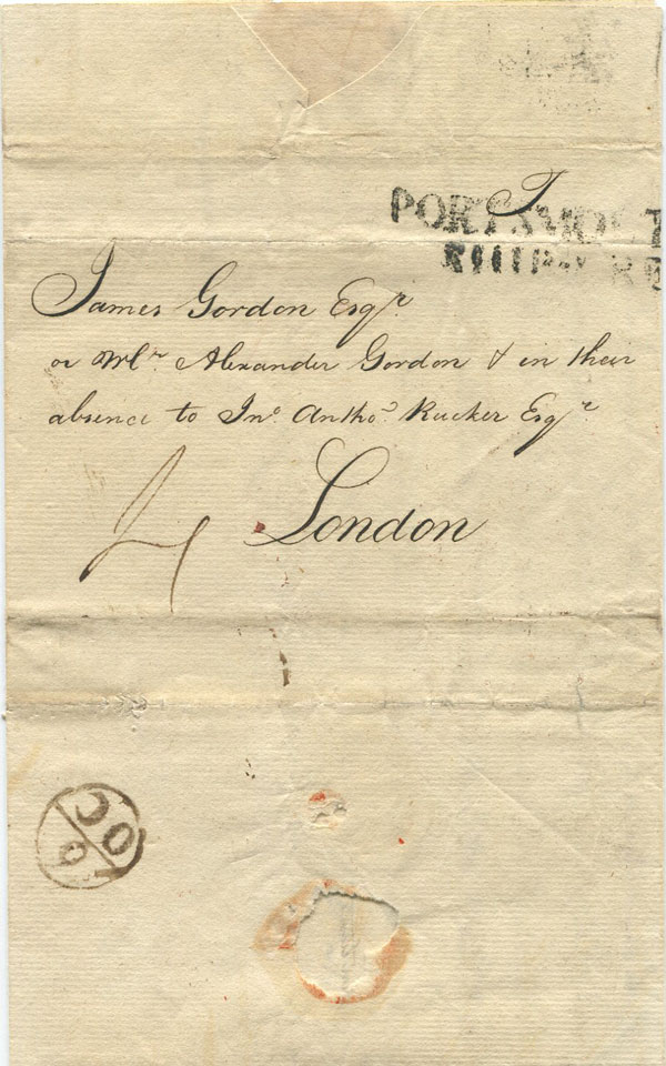 1777 (19 Jly) EL from Barbados addressed to James Gordon, London