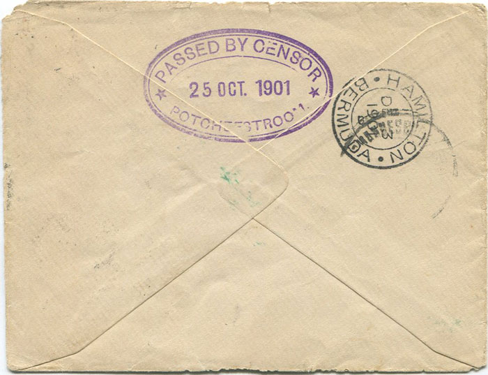 1901 (25 Oct) Bermuda Boer War cover on Burts Island