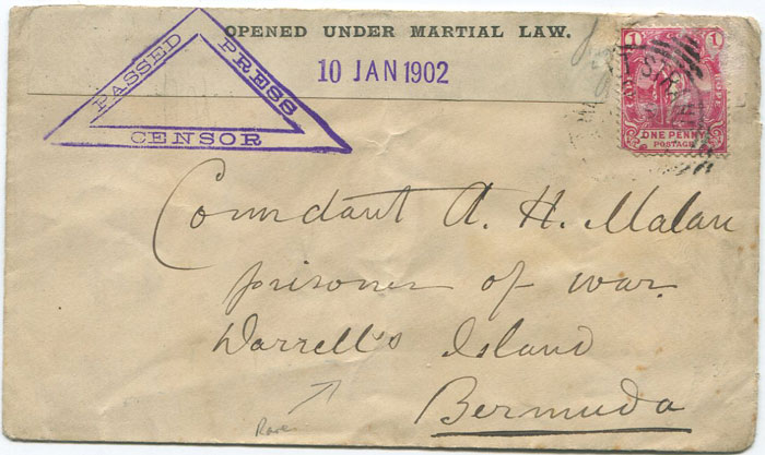 1902 (10 Jan) cover addressed to Comdant A.H. Malau, Prisoner of War, Darrell