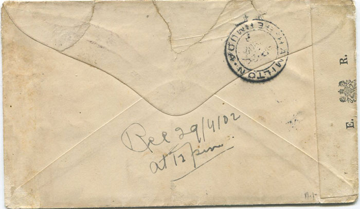 1902 (19 Mar) cover addressed to G. Morkel, Prisoner of War, Darrell