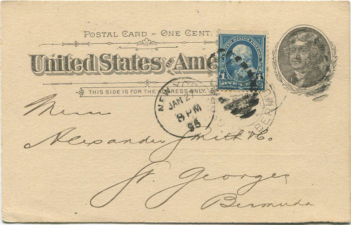 1896 U.S.A. 1c postal stationery card used to Bermuda
