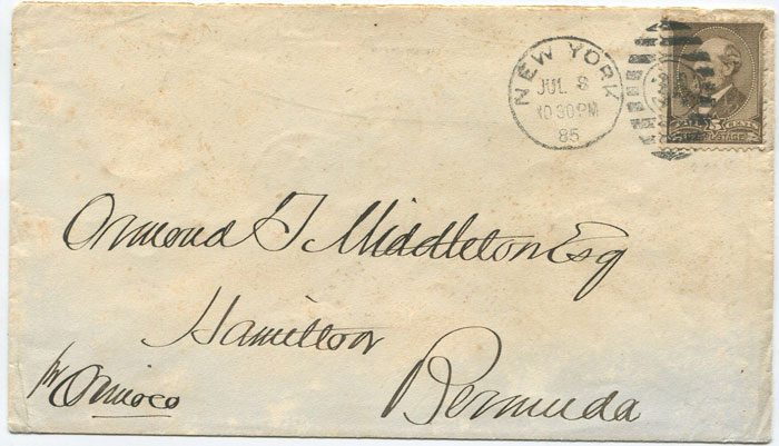 1885 U.S.A. 1882 5c on cover to Bermuda