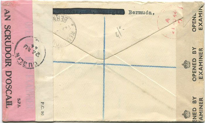 1944 (12 Aug) Bermuda triple censored registered airmail cover to Ireland