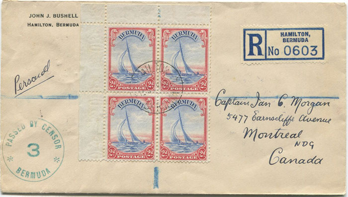 1940 (15 Nov) Bermuda censored registered cover to Canada