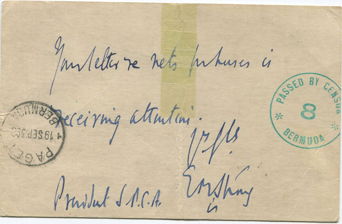 1939 (19 Sep) Bermuda censored postcard, sent locally but redirected to U.S.A.