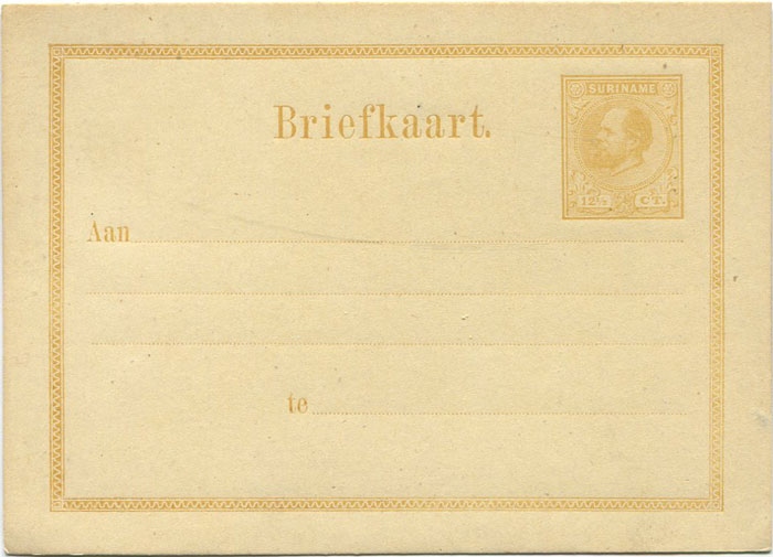 1878 Suriname 12½c postal stationery card