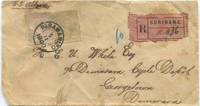 1900 Suriname registered cover to Georgetown