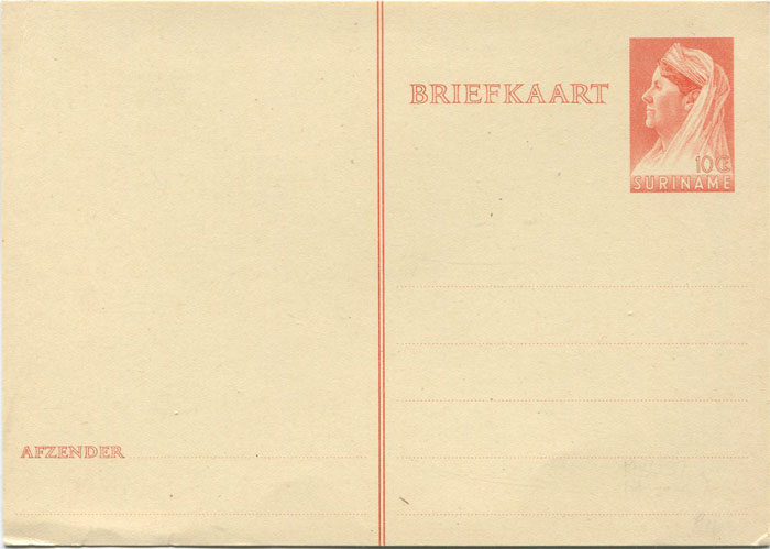1936 Suriname 10c postal stationery card