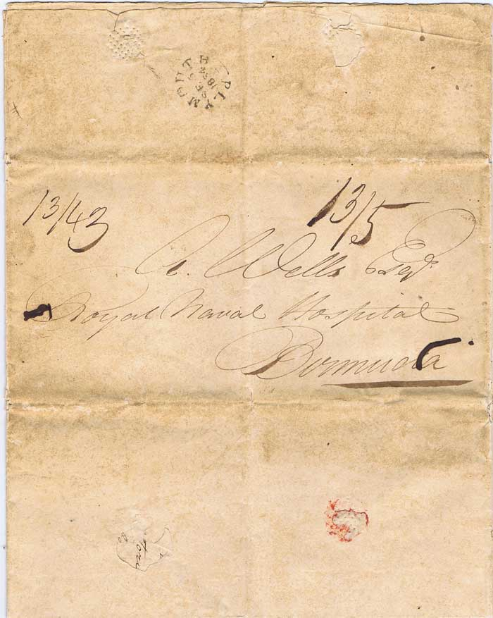 1854 (5 Sep) large EL from Plymouth to Royal Naval Hospital, Bermuda