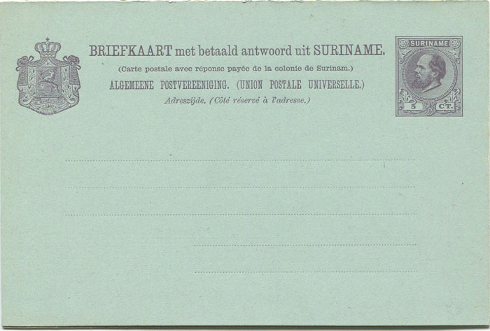 1888-9 Suriname 5c postal stationery reply card
