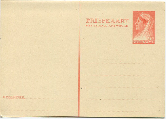 1936 Suriname 10c postal stationery reply card