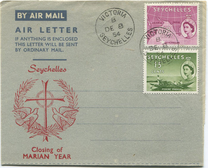 1954 Seychelles formular commerative airletter