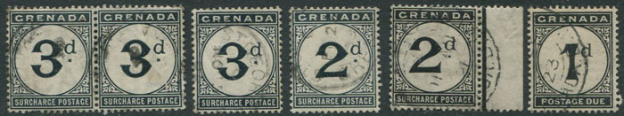 1906-11 Grenada postage dues 2d (2) and 3d (3) plus 1921-2 1d, f.u.