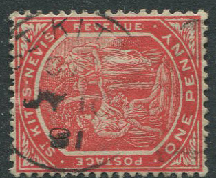 1916 St Kitts Nevis 1d cancelled by good
