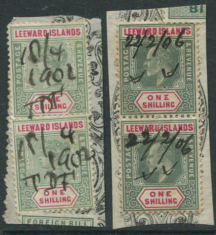 1902-6 Leeward Islands QV  and EDVII 1/- in pairs