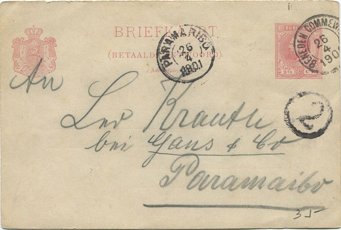 1901 BENEDEN COMMEWIJNE Suriname cds cancel