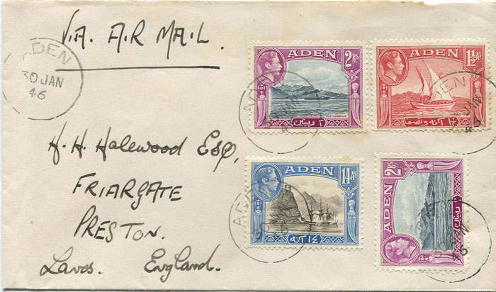 1946 Aden two airmail covers to England.