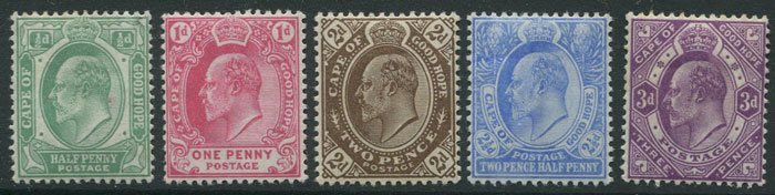 1902-4 Cape of Good Hope set to 5/- (SG70-78)