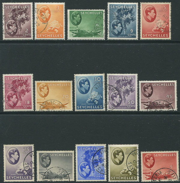 1938-49 Seychelles vals to 5r (SG135-49)