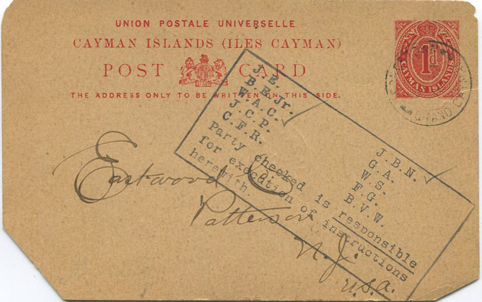 1918 Caymans postal stationery card to U.S.A. with censor h/s.