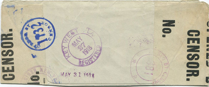 1918 Caymans part censored cover to U.S.A.