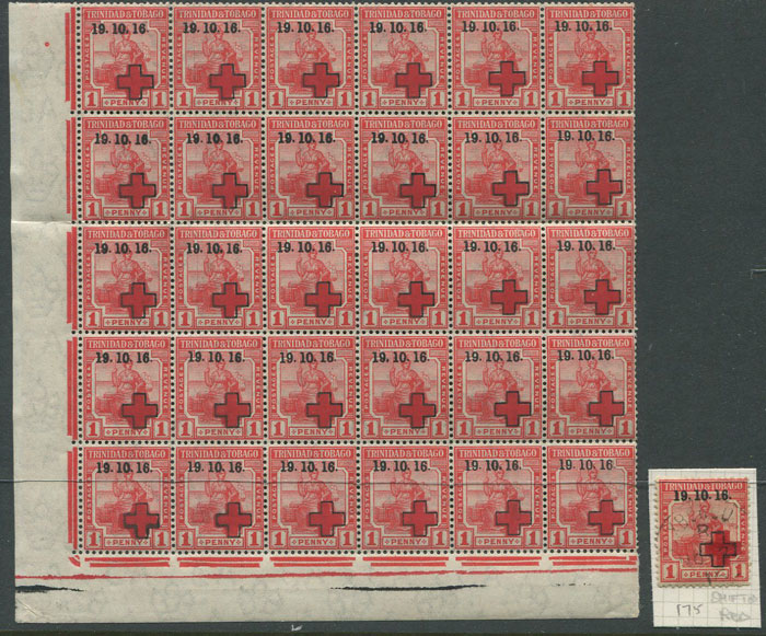 1916 Trinidad Red Cross 1d (SG175)