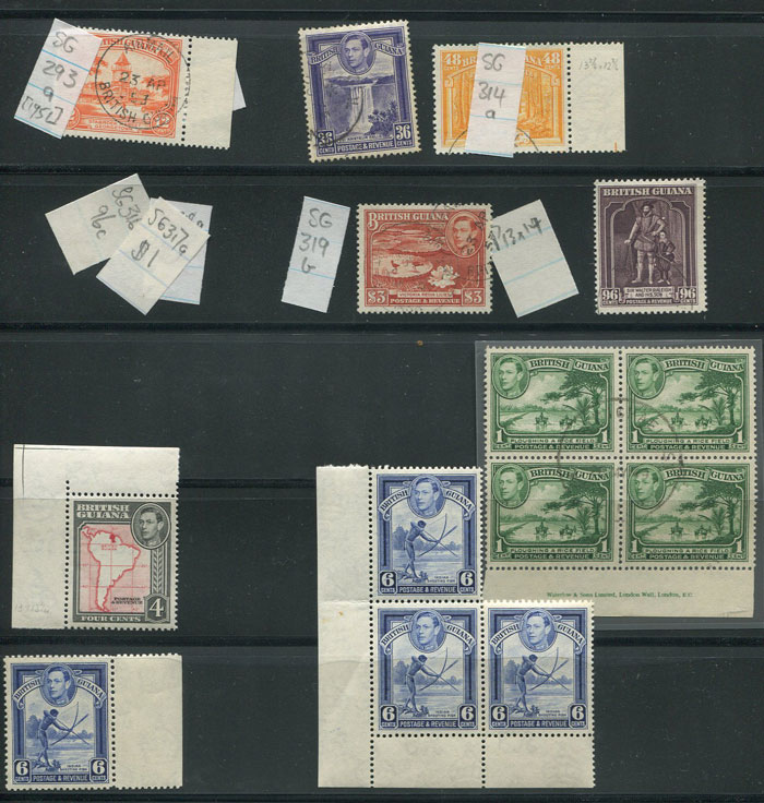1938-52 British Guiana duplicated vals. to $3