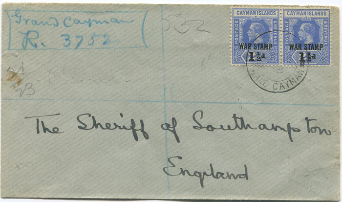 1918 Caymans registered cover to England