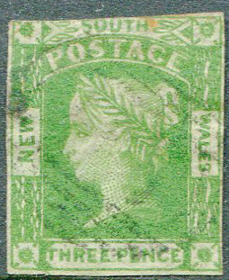 1854 New South Wales 3d yellow-green (SG87)