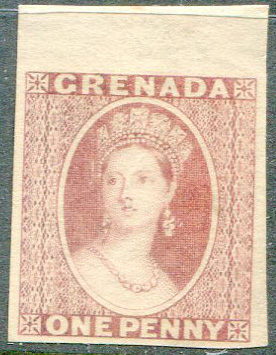 1861 Grenada 1d plate proof in rose red on thin wove paper.