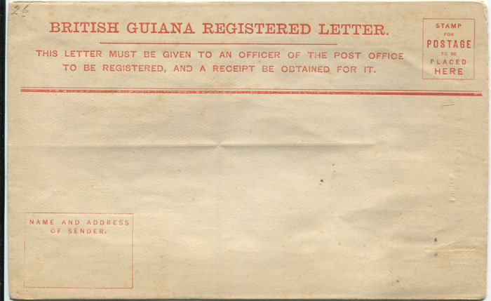 1882 British Guiana postal stationery 4c registered envelope