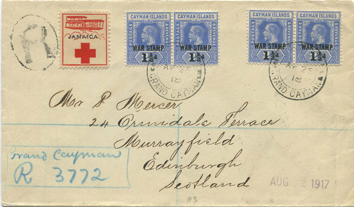 1918 (26 Apr) Caymans registered cover to Scotland