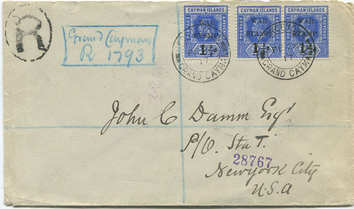 1917 (28 Feb) Caymans 1½d War Stamp (SG54) pair and single on registered cover to U.S.A.