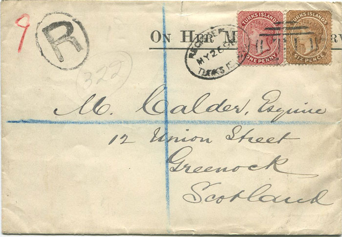 1898 Turks Is. registered cover to Scotland