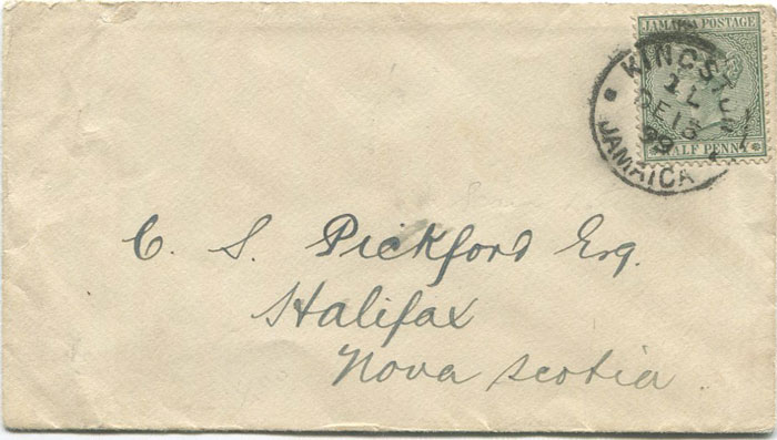 1899 Jamaica ½d tied by Kingston cds on printed papers rate cover to Nova Scotia.