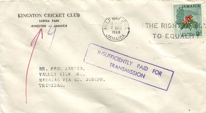 1968 Jamaica boxed INSUFFICIENTLY PAID FOR TRANSMISSION h/s