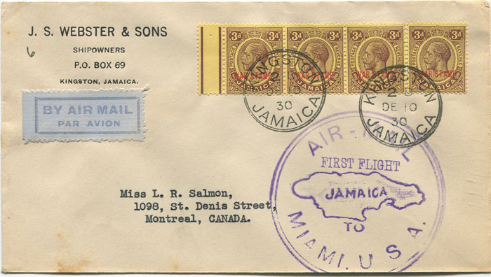 1930 (10 Dec) Jamaica - Canada first flight cover per Pan Am