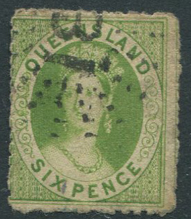 1862-7 Queensland rough perf 13 6d yellow-green (SG27)