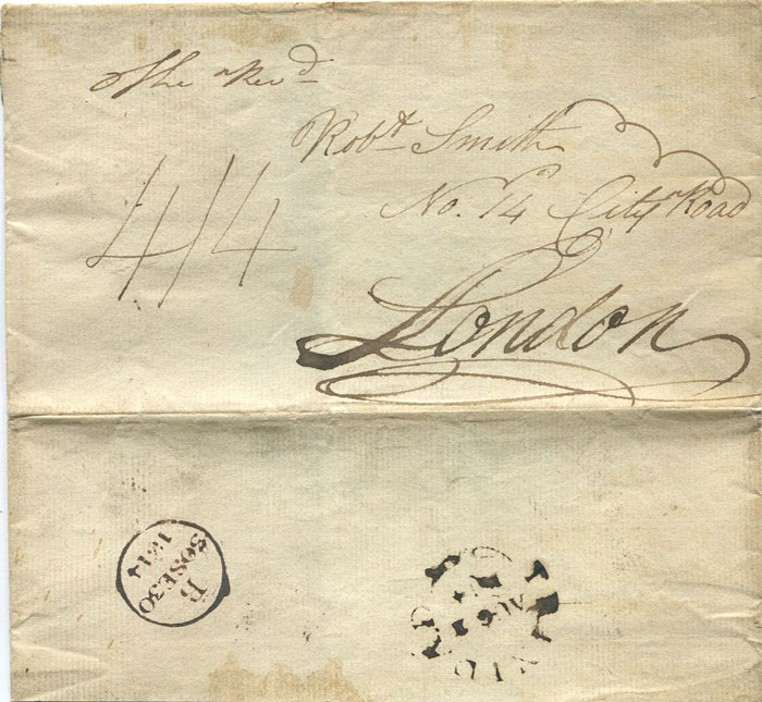 1814 TRINIDAD AUG 2 1814 large fleuron on cover to London
