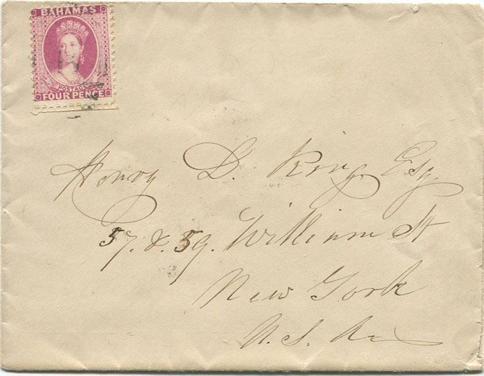1885 (16 Mar) Bahamas perf 12 4d (SG41) tied by
