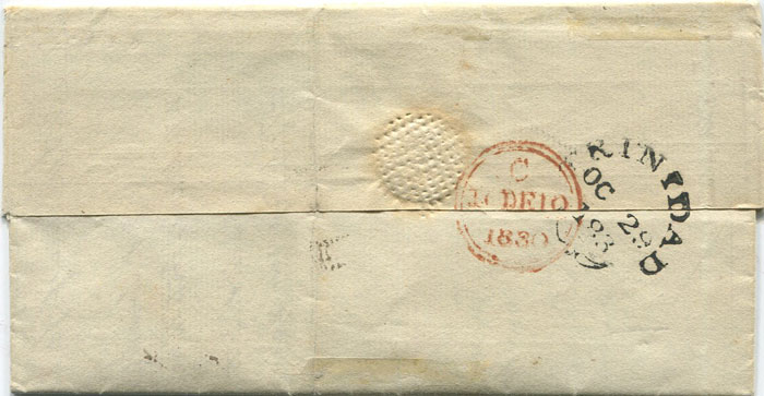 1830 TRINIDAD OC 29 183 small fleuron on EL to London
