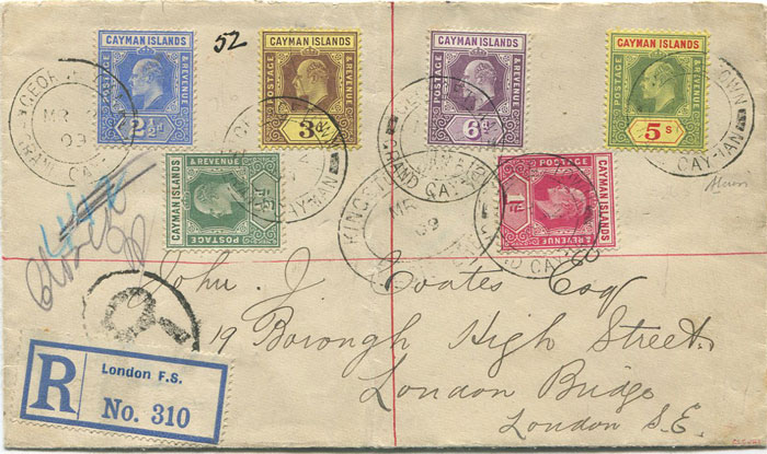 1909 Caymans registered cover to London