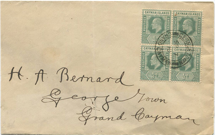 1910 Caymans local cover with 2d franking