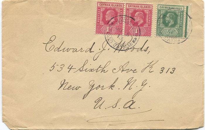 1913 Caymans cover to U.S.A. with 2½d mixed reigns franking