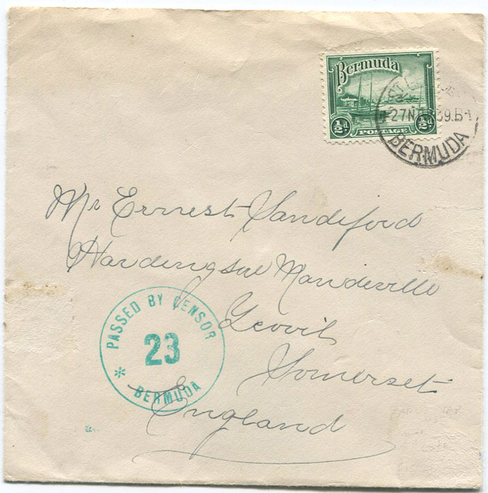 1939 (27 Nov) Bermuda ½d (SG98) on printed papers rate cover